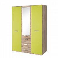 Skříň třídveřová, dub sonoma / zelená, EMIO Typ 03