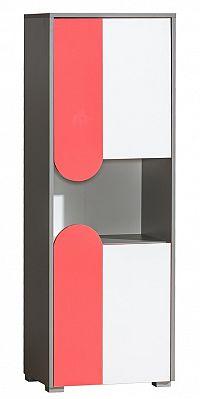 Skříňka s bílými dvířky s možností výběru barvy a korpusem v barvě grafit typ F4 KN742