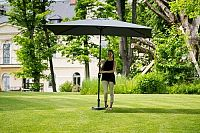 Slunečník hliníkový obdélníkový šedý 3x2 m