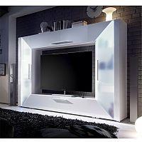 TV a media stěna, DTD laminovaná, MDF s extra vysokým leskem, bílá, EDGE