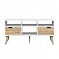 TV stolek v moderním retro stylu bílá DELTA 75391