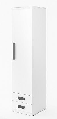 Úzká šatní skříň 45 cm s dvířky v bílém lesku a bílým matným korpusem se zásuvkami typ RP 04 KN745