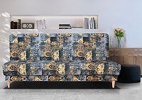 Vintage pohovka v kombinace oranžové a šedé barvy se vzorem F1179