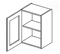 Vitrína horní EKRAN WENGE š.40cm W 40w - levá SZ čiré sklo