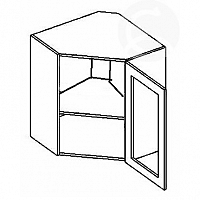 Vitrína horní rohová EKRAN WENGE 60x60cm WR 60w SM - pravá mražené sklo