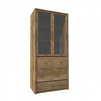 Vitrína s jednou zásuvkou a dvěma předělenými dveřmi - plnými a prosklenými, dub lefkas, MONTANA W2D
