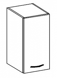 W30 horní skříňka jednodveřová pravá v šedém lesku KN414