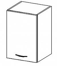 W40 horní skříňka jednodveřová levá v šedém lesku KN414