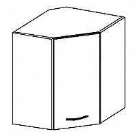 WRP horní rohová skříňka 60x60 cm levá v šedém lesku KN414