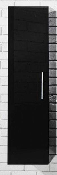Závěsná koupelnová skříňka se zásuvkami v černém lesku F1250