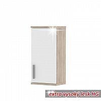 Závěsná skříňka, dub sonoma/bílá vysoký lesk, Lessy LI 04