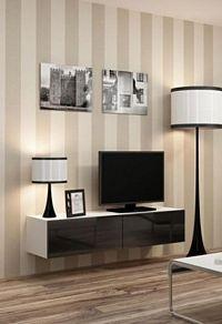 Cama Televizní stolek VIGO 140 - bílá/černá