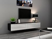 Cama Televizní stolek VIGO 180 - černá/bílá
