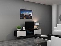 Cama Televizní stolek VIGO Glass 180 - černá/bílá
