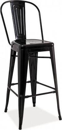 Casarredo Barová kovová židle LOFT H-1 černá