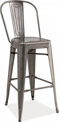 Casarredo Barová kovová židle LOFT H-1 kartáčovaná ocel