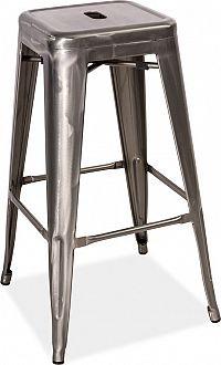 Casarredo Barová kovová židle LONG ocel kartáčovaná