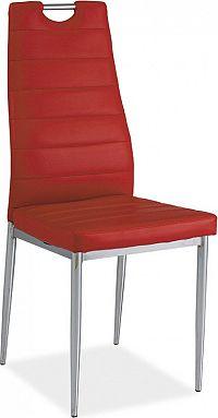 Casarredo Jídelní čalouněná židle H-260 červená/chrom