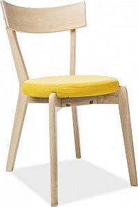 Casarredo Jídelní čalouněná židle NELSON žlutá/dub medový