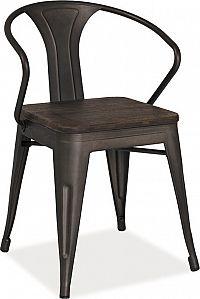 Casarredo Jídelní kovová židle ALVA tmavý ořech/grafit