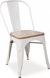 Casarredo Jídelní kovová židle LOFT bílá/ořech