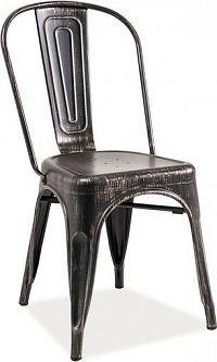 Casarredo Jídelní kovová židle LOFT černá přetíraná