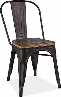 Casarredo Jídelní kovová židle LOFT grafit/ořech