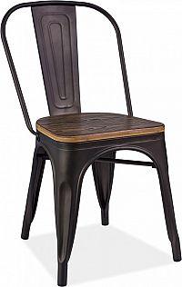 Casarredo Jídelní kovová židle LOFT grafit/tm. ořech