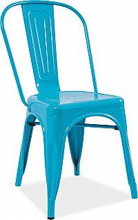 Casarredo Jídelní kovová židle LOFT modrá