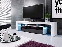 Casarredo Televizní stolek VERA MINI bílá/černá vysoký lesk