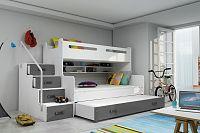 Falco Patrová postel Maty NEW s úložným prostorem bílá/grafit