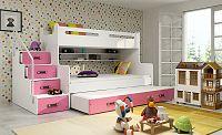 Falco Patrová postel Maty NEW s úložným prostorem bílá/růžová