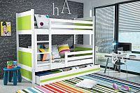 Falco Patrová postel Riky - bílá/zelená