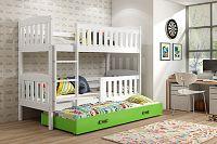 Falco Patrová postel s přistýlkou Kuba bílá/zelená