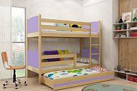 Falco Patrová postel s přistýlkou Tamita borovice/fialová