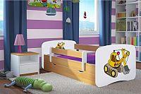 Forclaire Dětská postel se zábranou Ourbaby - bagr- buk postel 180 x 80 cm s úložným prostorem