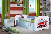 Forclaire Dětská postel se zábranou Ourbaby - Hasičské auto - modrá postel 180 x 80 cm s úložným prostorem
