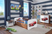 Forclaire Dětská postel se zábranou Ourbaby - Sporťák postel 180 x 80 cm s úložným prostorem