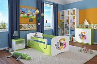 Forclaire Dětská postel se zábranou Ourbaby - ZOO II postel 180 x 80 cm s úložným prostorem
