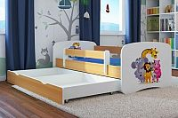 Forclaire Dětská postel se zábranou Ourbaby - ZOO III postel 180 x 80 cm s úložným prostorem