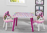 Forclaire Dětský stůl s židlemi Jednorožec