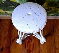 Forclaire Proutěný taburet velký bílý