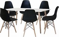 Idea Jídelní stůl GÖTEBORG 50 + 6 židlí UNO černé