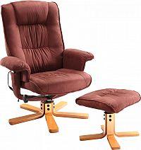 Idea Relaxační masážní křeslo s podnožkou hnědé K47