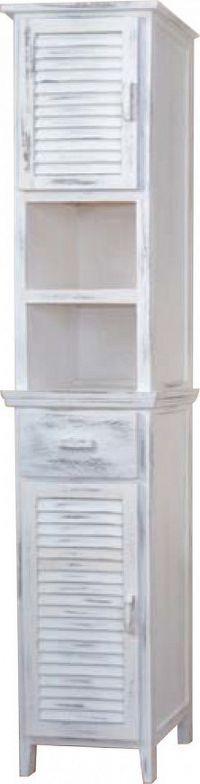 Idea Vysoká skříňka 2 dveře + 1 zásuvka bílá antik