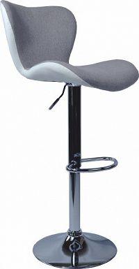Tempo Kondela Barová židle, šedá látka/bílá ekokůže, TIRZA + kupón KONDELA10 na okamžitou slevu 10% (kupón uplatníte v košíku)