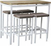 Tempo Kondela Barový jídelní set LUCERO (1 stůl + 4 židle) - bílá / dub sonoma / hnědá + kupón KONDELA10 na okamžitou slevu 10% (kupón uplatníte v košíku)