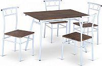 Tempo Kondela Jídelní set Malabo 1 + 4 - dřevo / bílý kov + kupón KONDELA10 na okamžitou slevu 10% (kupón uplatníte v košíku)