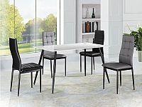 Tempo Kondela Jídelní stůl ADMER - bílé sklo / černý kov + kupón KONDELA10 na okamžitou slevu 10% (kupón uplatníte v košíku)