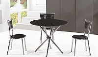 Tempo Kondela Jídelní stůl LAMAR - tvrzené sklo / ocel, černá + kupón KONDELA10 na okamžitou slevu 10% (kupón uplatníte v košíku)
